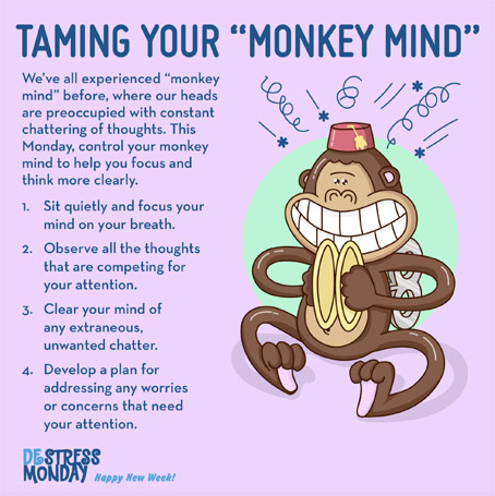 DeStress Monday weekly tips – monkey mind