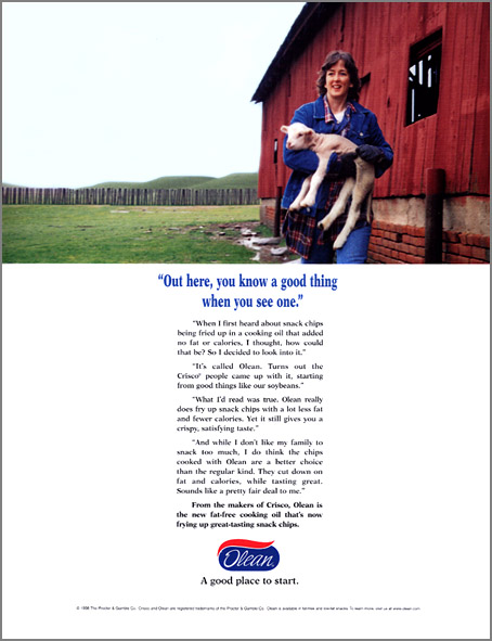P&G Olean fat-free cooking oil introductory print ad with a farm mom
