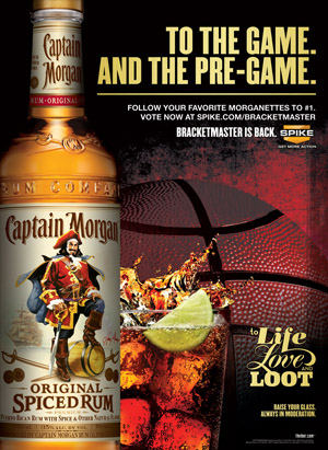 Captain Morgan print ad for a college basektball tournament