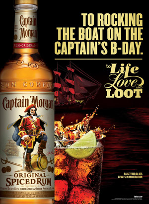 Captain Morgan print ad for the Captain's Birthday