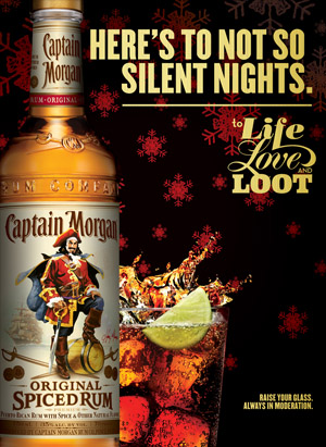 Captain Morgan print ad for the holidays