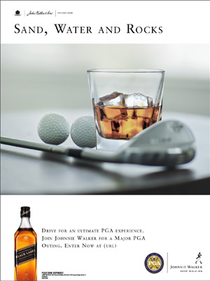 Johnnie Walker print ad for golf