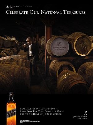 Johnnie Walker print ad for Scottish national treasures