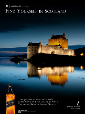 Johnnie Walker print ad for Scotland sweepstakes